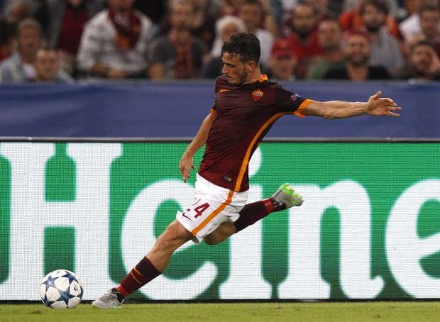 Florenzi, da Roma, autor do gol do meio do campo contra o Barça (Riccardo De Luca/Associated Press)