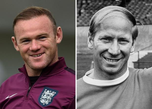 Wayne Rooney, em foto de setembro deste ano, e Bobby Charlton, em foto de maio de 1970 (Arquivo AFP)
