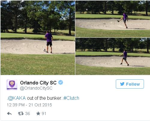 Kaká em jogada em banco de areia (Reprodução Twitter Orlando City)