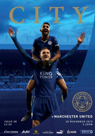 Vardy e Mahrez (atrás) na revista do Leicester City feita para o jogo contra o Manchester United (Reprodução/Site do Leicester City FC)