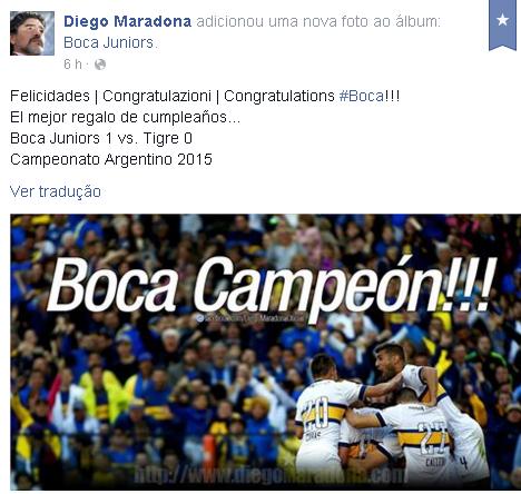 Maradona festejou o título do seu time do coração em rede social (Reprodução Facebook)