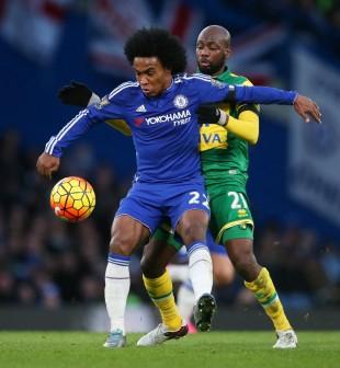 Willian protege a bola de Mulumbu na vitória do Chelsea sobre o Norwich (Matthew Childs - 21.nov.2015/Reuters)
