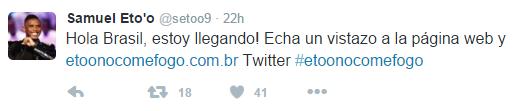 Reprodução/Twitter Samuel Eto'o