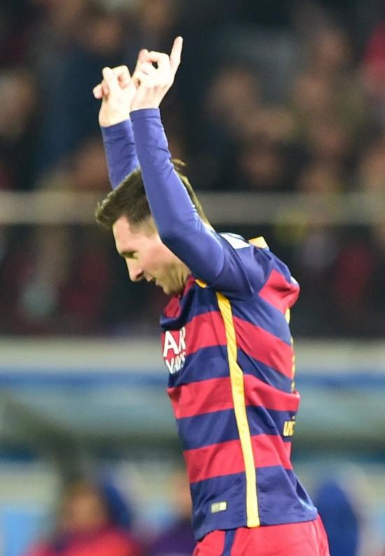 Messi festeja gol na final do Mundial de Clubes de 2015 (Yoshikazu Tsuno - 20.dez.2015/AFP)