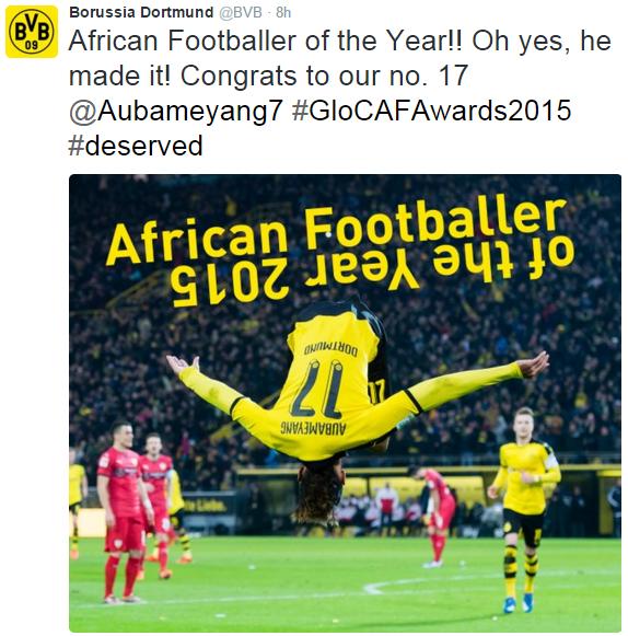 """""""Oh, sim, ele conseguiu!"""", diz mensagem do Borussia Dortmund que parabeniza Aubameyang (Reprodução/Twitter Borussia Dortmund)"""