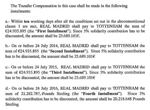 Trecho do contrato que indica como deve ser feito o pagamento parcelado, com valores em libras (Reprodução/Site Football Leaks)