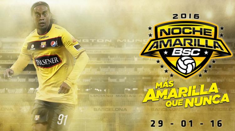 """Ronaldinho em cena de divulgação na """"Noite Amarela"""" (Reprodução/Site do Barcelona de Guayaquil)"""