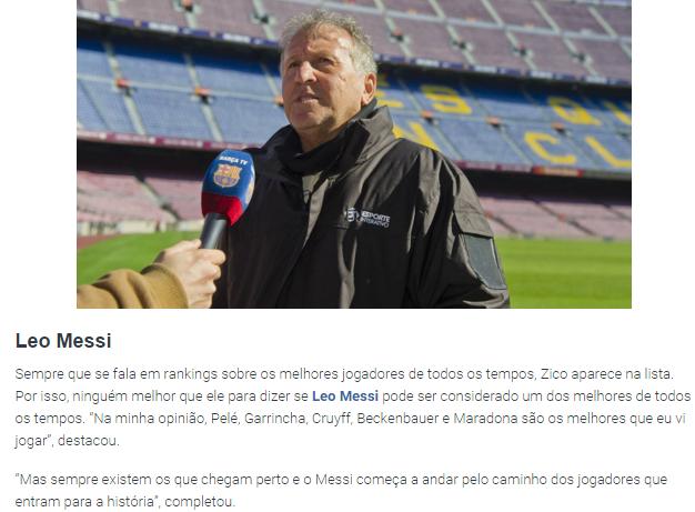 Trecho da matéria, em português, no site do clube espanhol Barcelona (Reprodução/Site do FC Barcelona)