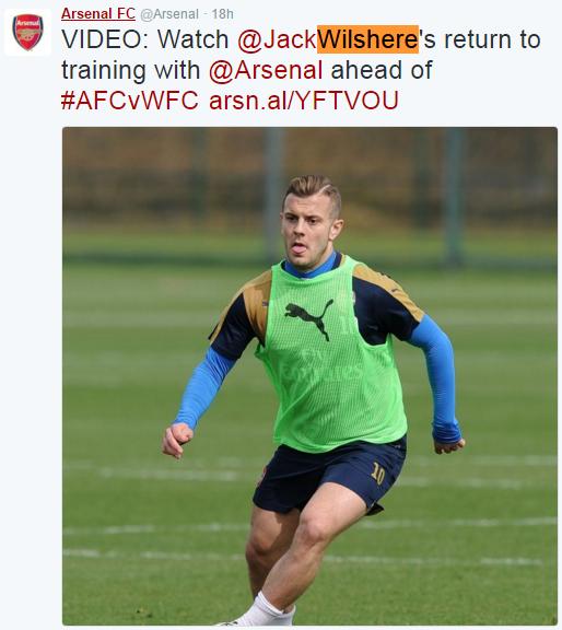 Wilshere de volta aos treinos (Reprodução/Twitter do Arsenal FC)