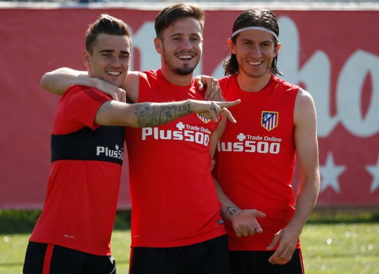 Griezmann, Saúl e Filipe Luís durante treino do Atlético de Madri, finalista da Champions League (Juan Medina - 21.mai.2016/Reuters)