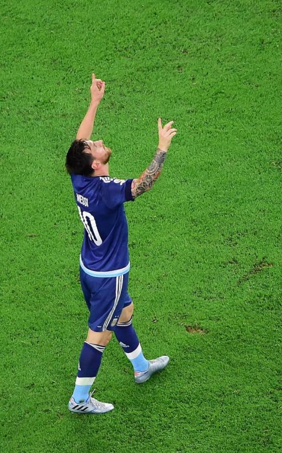 Messi comemora em Houston (EUA) seu 55º gol pela seleção da Argentina (Frederic J. Brown - 21.jun.2016/AFP)