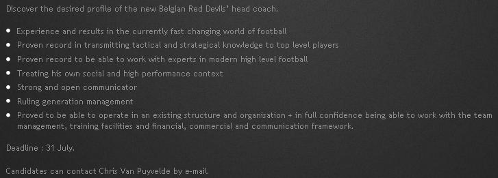 Em inglês, o perfil que a Bélgica busca para o novo treinador da seleção (Reprodução/Site da Federação Belga de Futebol)