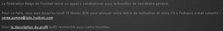Em francês, anúncio no site da federação referente ao processo seletivo para novo secretário´geral da entidade (Reprodução/Site da Federação Belga de Futebol)