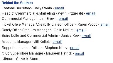 O nome de Fitzgeral ainda aparecianesta quinta (21) na lista de contatos do clube inglês (Reprodução/Site do Chesterfield FC)