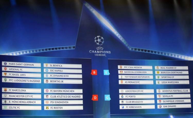Os oito grupos da Liga dos Campeões da Europa 2016-2017 (Eric Gaillard - 25.ago.2016/Reuters)