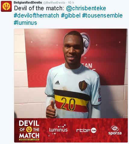 """Benteke foi eleito o """"Diabo do jogo"""" entre Gibraltar e Bélgica (Reprodução/Twitter da seleção belga de futebol)"""