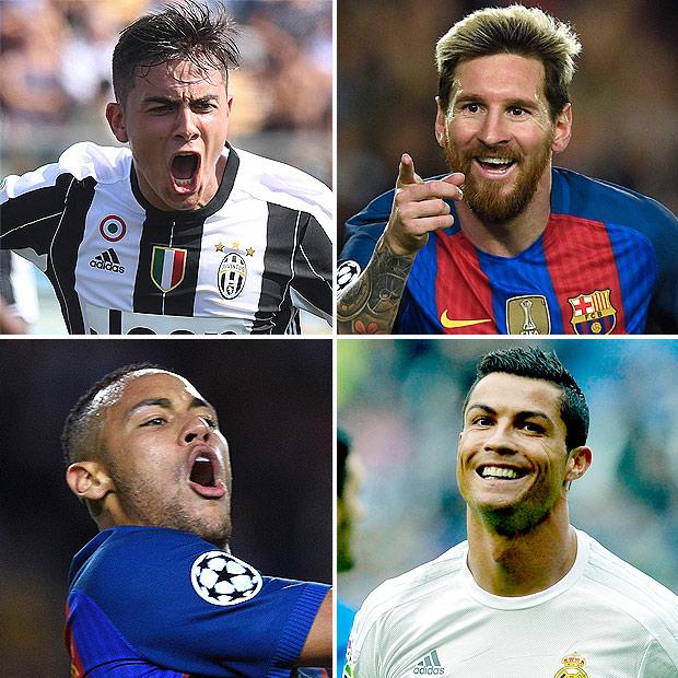 Os argentinos Dybala (Juventus) e Messi (Barcelona), o brasileiro Neymar (Barcelona) e o português Cristiano Ronaldo (Real Madrid) (Fotos Alberto Linfria/Reuters, Lluis Gene/AFP, Lluis Gene/AFP e Miguel Riopa/AFP)
