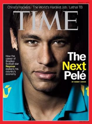 """Neymar na capa da """"Time"""", em março de 2013: """"O Próximo Pelé"""" (Reprodução)"""