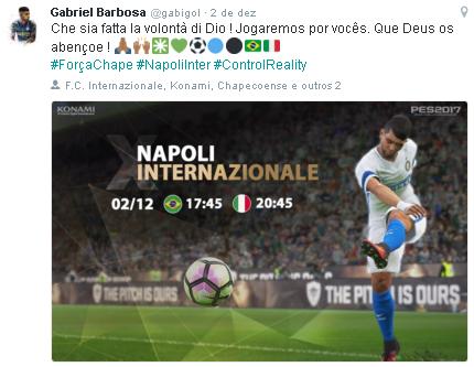 Postagem de Gabigol antes de Napoli 3 x 0 Inter no Italiano (Reprodução/Twitter de Gabriel Barbosa)