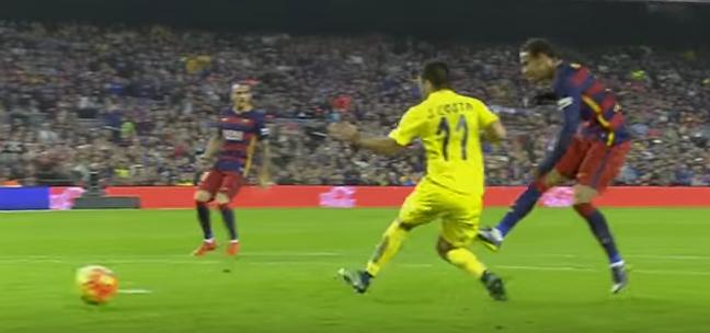 Gol de Neymar pelo Barcelona contra o Villarreal (Reprodução/YouTube)