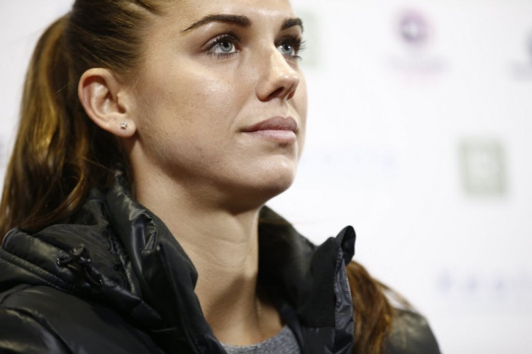 United States' Alex Morgan attends a press conference as part of her official presentation in Lyon, central France, Saturday, Jan. 7, 2017. Morgan signed a half-season contract with reigning European champions Olympique Lyon. (AP Photo)