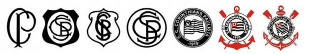 Evolução do escudo do Corinthians (Reprodução)
