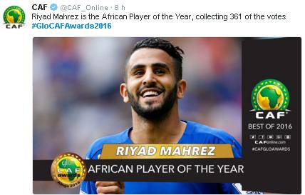 O argelino Mahrez, do Leicester, eleito o melhor jogador africano de 2016 (Reprodução/Site da Confederação Africana de Futebol)