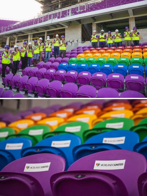 Cadeiras nas cores do arco-íris homenageiam as vítimas de um atirador na boate Pulse (Rerpodução/Twitter do Orlando City Soccer Club)