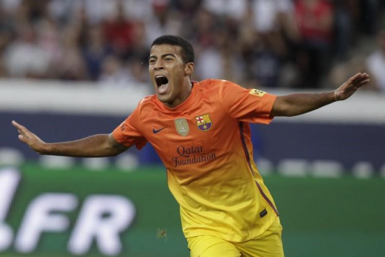 Com 19 anos, celebra gol em amistoso contra o PSG, que acabou 2 a 2, em Paris (Pascal Rossignol - 4.ago.2012/Reuters)