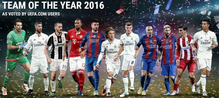 Buffon, Sergio Ramos, Bonucci, Boateng, Piqué, Modric, Kroos, Iniesta, Messi, Griezmann e Cristiano Ronaldo (Reprodução/Site da Uefa)