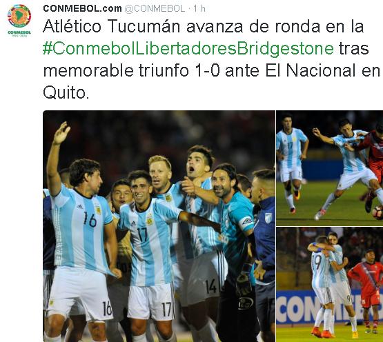 """""""Atlético Tucumán passa de fase na Libertadores depois de vitória memorável"""", afirma a Confederação Sul-Americana de futebol  (Reprodução/Twitter da Conmebol)"""