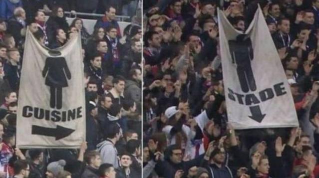 Torcedor indica que lugar de homem é no estádio e de mulher, na cozinha em Lyon x Lille (Fotomontagem/Reprodução da TV Canal Plus)