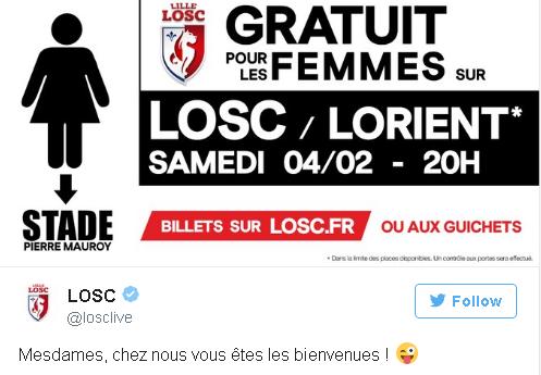 O Lille convida as mulheres para ver, de graça, a partida contra o Lorient (Reprodução/Twitter Lille Sporting Club)