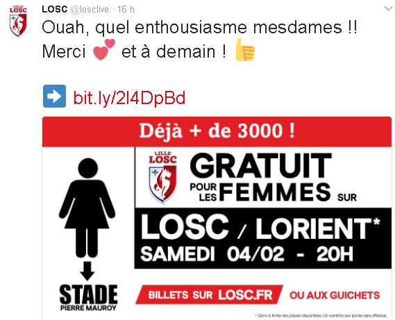 O Lille contabiliza 3.000 mulheres que solicitaram o ingresso gratuito para a partida (Reprodução/Twitter Lille Sporting Club)