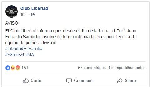 O Libertad anuncia, em rede social, que Juan Eduardo Samudio assume como treinador, interinamente, no lugar de Leonel Álvarez (Reprodução/Facebook do Club Libertad)